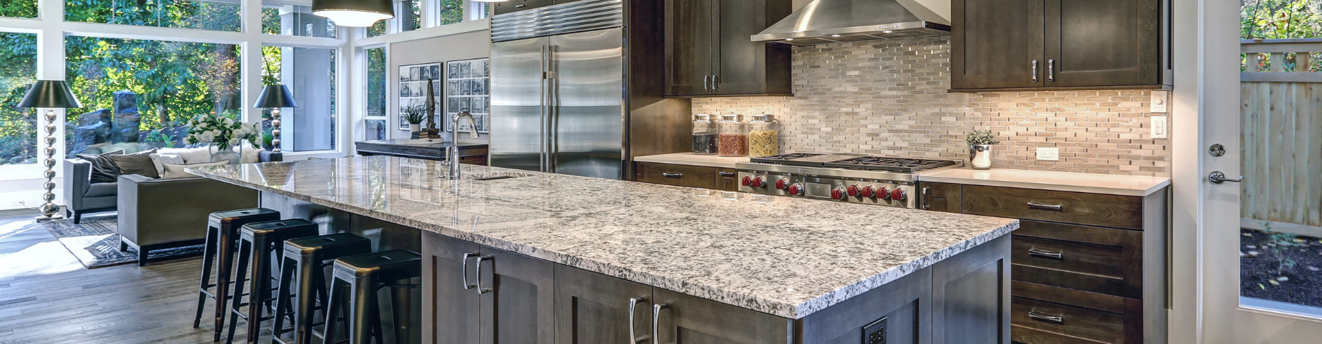 Granite Kitchen Countertop with Backsplash Tile